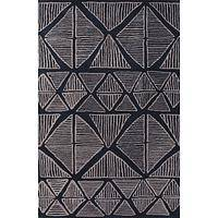 Modern tribal blue/gray wool area rug, 'Midnight Sketches' - Modern Tribal Blue/Gray Wool Area Rug