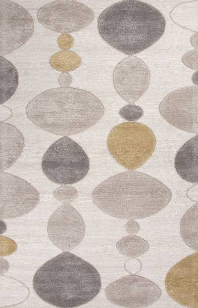 Modern geometric ivory/gray wool blend area rug, Stacked Stones