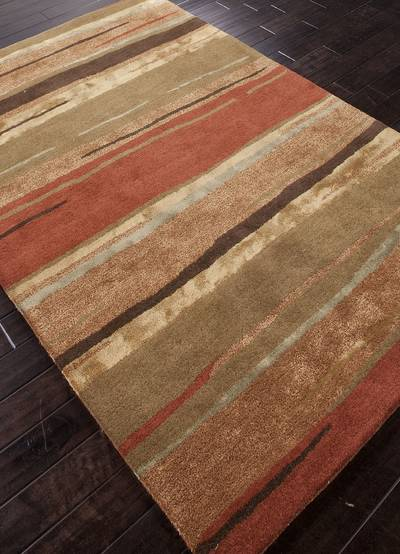 Modern Abstract Orange Brown Wool Blend Area Rug Spiced Layers Novica