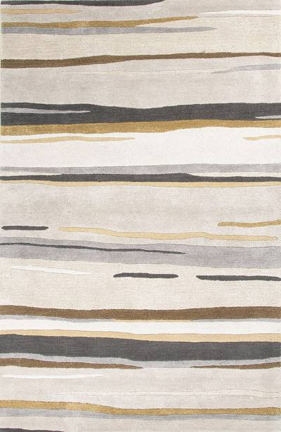 Modern abstract gray/brown wool blend area rug, 'Crème Layers' - Modern Abstract Gray/Brown Wool Blend Area Rug