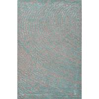 Modern tone-on-tone gray/blue wool blend area rug, 'Teal Whorl' - Modern Tone-on-tone Gray/Blue Wool Blend Area Rug