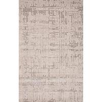 Modern geometric beige wool blend area rug, 'Dove Crosshatch' - Modern Geometric Beige Wool Blend Area Rug
