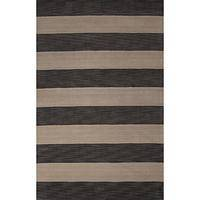 Modern stripe gray/ivory wool area rug, 'Earthen Stripes' - Modern Stripe Gray/Ivory Wool Area Rug