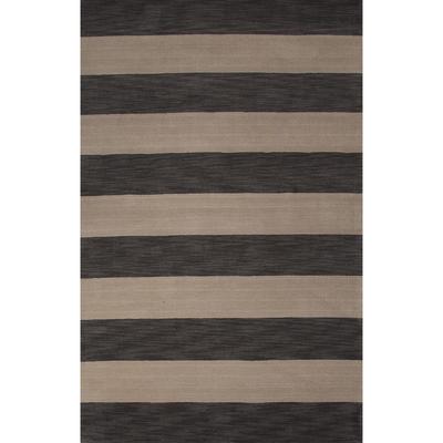 Modern Stripe Gray Ivory Wool Area Rug Earthen Stripes