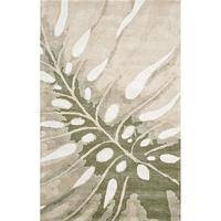 Modern coastal ivory/gray wool area rug, 'Palm Frond' - Modern Coastal Ivory/Gray Wool Area Rug