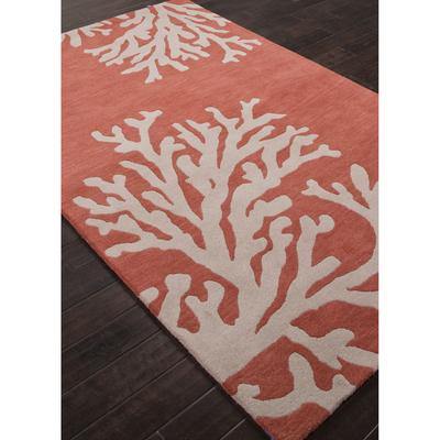 Modern Coastal Orange Ivory Wool Area Rug Coral Reef Novica