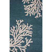 Modern coastal blue/ivory wool area rug, 'Marine Reef' - Modern Coastal Blue/Ivory Wool Area Rug