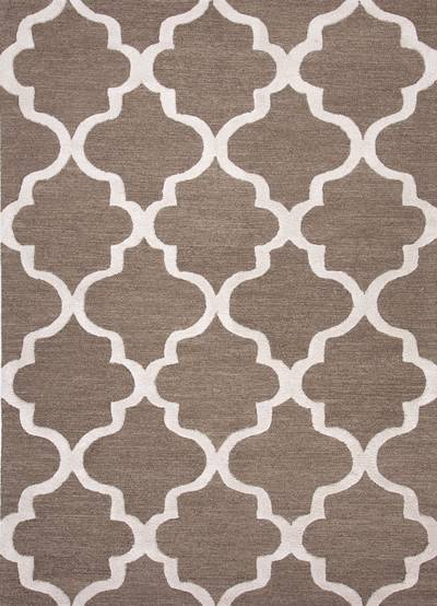 Modern geometric brown/ivory wool area rug, Vogue in Walnut