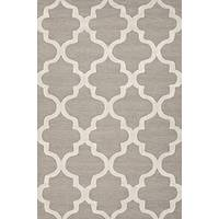 Modern geometric gray/ivory wool area rug, 'Vogue in Sandstone' - Modern Geometric Gray/Ivory Wool Area Rug