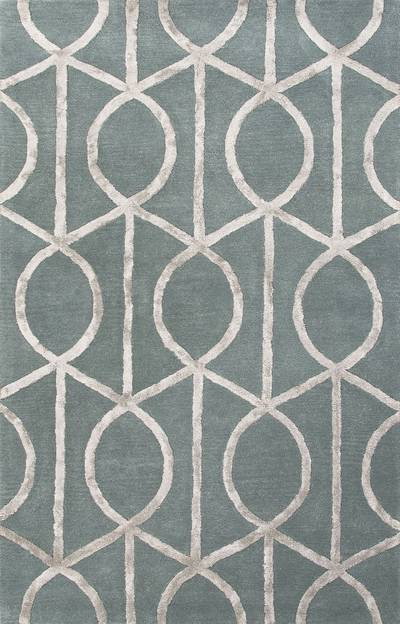 Modern geometric blue/gray wool blend area rug, Socialite in Slate Blue