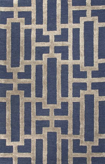 Modern geometric blue taupe wool blend area rug urbanite for Contemporary wool area rugs