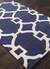 Modern geometric blue/ivory wool blend area rug, 'Regal' - Modern Geometric Blue/Ivory Wool Blend Area Rug (image 2c) thumbail