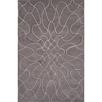 Modern geometric gray/ivory wool area rug, 'Wavelength' - Modern Geometric Gray/Ivory Wool Area Rug