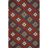 Modern tribal red wool area rug, 'Viviana' - Modern Tribal Red Wool Area Rug
