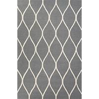 Modern geometric gray/ivory wool area rug, 'Chainlink in Stone' - Modern Geometric Gray/Ivory Wool Area Rug