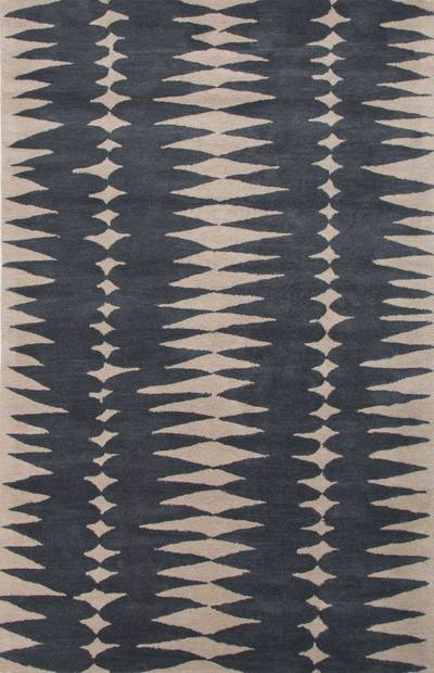 Modern geometric blue/ivory wool area rug, 'Teardrop' - Modern Geometric Blue/Ivory Wool Area Rug