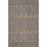 Modern tribal gray wool area rug, 'Jael' - Modern Tribal Gray Wool Area Rug