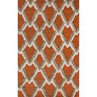 Modern geometric orange wool area rug, 'Ginger Plumage' - Modern Geometric Orange Wool Area Rug