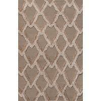Modern geometric neutral/tan wool area rug, 'Earthen Plumage' - Modern Geometric Neutral/Tan Wool Area Rug
