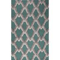Modern geometric teal wool area rug, 'Teal Plumage' - Modern Geometric Teal Wool Area Rug