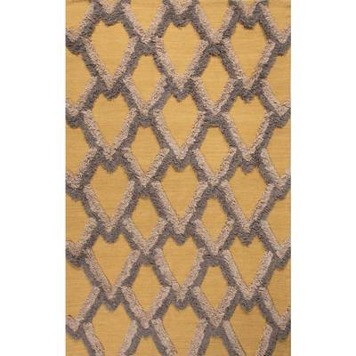 Modern geometric yellow/gold wool area rug, 'Golden Plumage' - Modern Geometric Yellow/Gold Wool Area Rug