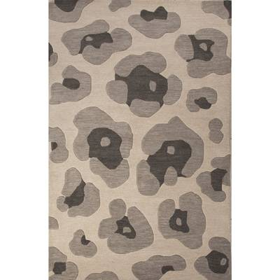 Modern Animal Print Gray Wool Area Rug Gray Leopard Novica