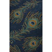 Modern blue wool and viscose area rug, 'Blue Peacock' - Modern Peacock Feather Print Blue Wool and Viscose Area Rug