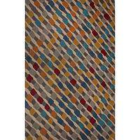 Modern geometric multi wool area rug, 'Hopscotch' - Modern Geometric Multi Wool Area Rug