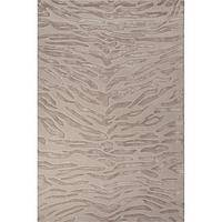 Modern animal print ivory/white wool and viscose area rug, 'Pale Tiger' - Modern Animal Print Ivory/White Wool and Viscose Area Rug