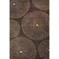 Modern geometric brown wool area rug, 'Elements in Brown' - Modern Geometric Brown Wool Area Rug