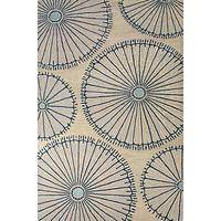 Modern geometric ivory/blue wool area rug, 'Elements in Blue' - Modern Geometric Ivory/Blue Wool Area Rug