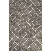 Modern geometric gray/ivory wool area rug, 'Harley in Gray' - Modern Geometric Gray/Ivory Wool Area Rug