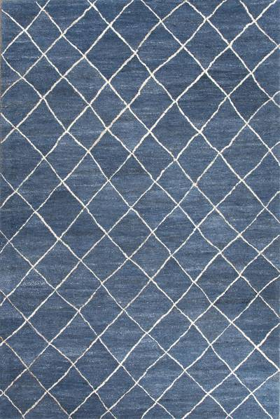 Modern geometric blue/ivory wool area rug, 'Harley in Blue' - Modern Geometric Blue/Ivory Wool Area Rug