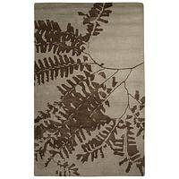 Modern floral taupe/brown wool blend area rug, 'Fern Marron' - Modern Floral Taupe/Brown Wool Blend Area Rug