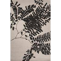 Modern floral wool blend area rug, 'Fern Noir' - Modern Floral Beige/Brown Wool Blend Area Rug