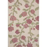 Modern floral ivory/white wool area rug, 'Thornwood' - Modern Floral Ivory/White Wool Area Rug