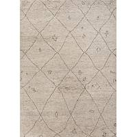 Modern Moroccan style ivory/brown wool area rug, 'Ponce' - Modern Moroccan Style Ivory/Brown Wool Area Rug