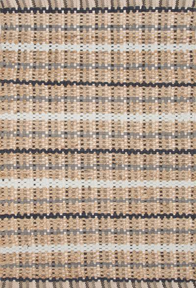 Jute and cotton area rug, 'Gale' - Hand Woven Jute and Recycled Cotton Taupe Grey Area Rug