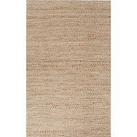 Jute and cotton area rug, 'Acune' - Natural Jute and Cotton Hand Loomed Area Rug in Sand/Ivory