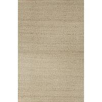 Jute and rayon area rug, 'Hurri' - Hand Loomed Solid Buff/Ivory Jute and Rayon Area Rug