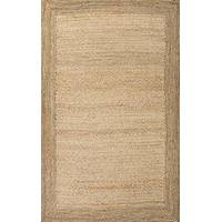 Jute area rug, 'Cassandra' - 100% Jute Hand Loomed Area Rug Rectangular with Border