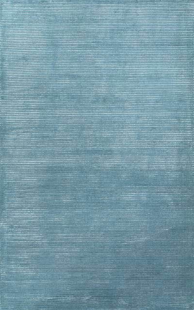 Wool and rayon chenille blend area rug, 'Ribbed Azure' - Hand-loomed Solid Azure Blue Wool Rayon Chenille Area Rug