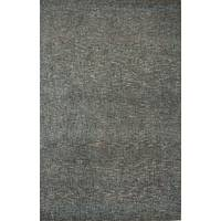 Wool and rayon chenille blend area rug, 'Carres' - Hand Woven Wool Rayon Chenille Area Rug in Solid Blue/Gray