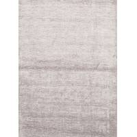 Handloomed solid gray area rug, 'Steele' - Handloom Solid Gray Viscose Area Rug