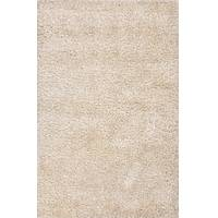 Shag solid ivory/white polyester and wool area rug, 'Challen' - Shag Solid Ivory/White Polyester and Wool Area Rug
