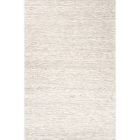 Textured stripe ivory/wheat wool area rug, 'Nomen' - Textured Stripe Ivory/Wheat Wool Area Rug
