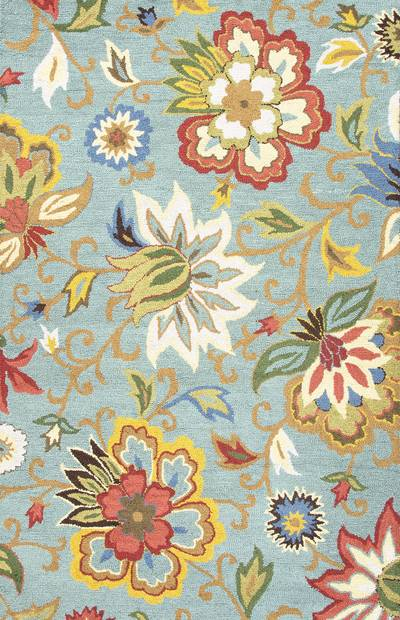 Transitional floral blue/multi wool area rug, 'Sky Medley' - Transitional Floral Light Blue/Multi Wool Area Rug