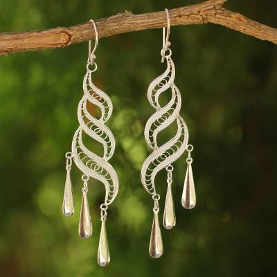 Sterling silver dangle earrings, 'Three Paths' - Sterling Silver Long Chandelier Earrings