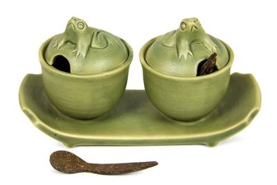 Ceramic condiment set, 'Coriander Frogs' - Green Ceramic Condiment Set with Self-Tray and Spoons