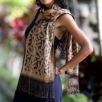 Silk batik scarf, 'Black Fern'